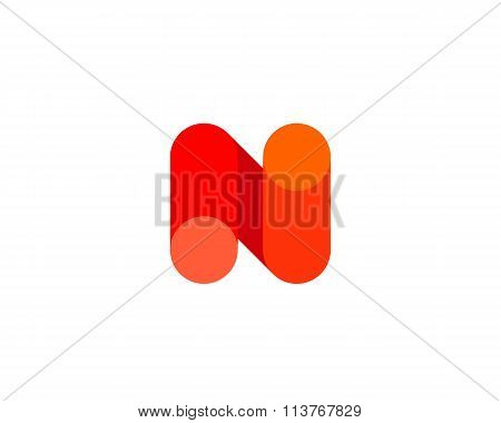Abstract letter N logo design template. Colorful modern creative sign. Universal vector icon. Fresh