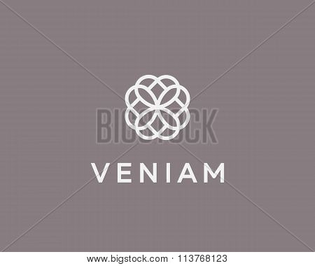 Abstract elegant flower logo icon design. Universal creative premium symbol. Graceful jewel vector s