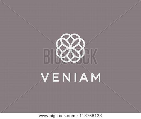Abstract elegant flower logo icon design. Universal creative premium symbol. Graceful jewel vector s