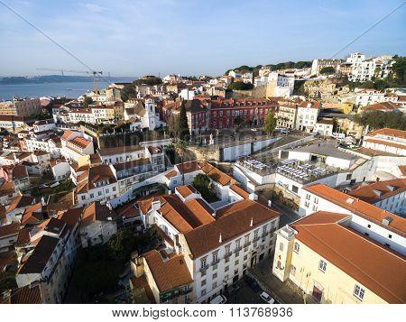 Aerial View Alfama, Lisbon, Portugal