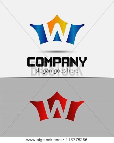 Crown icon design element, letter W symbol