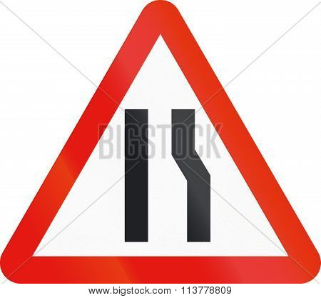 Road Sign Used In Spain - Narrowing Of Carriageway On The Right