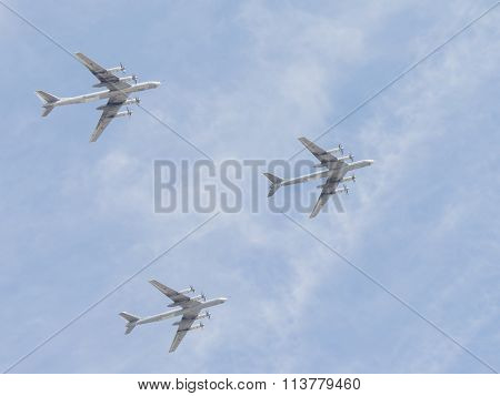 Three Fighter Jets Tu-95 In Flight