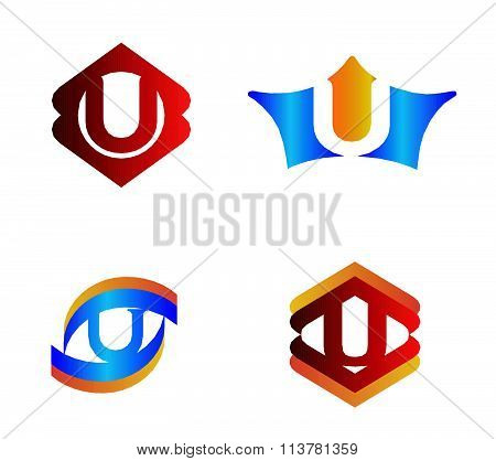 Letter u set Alphabetical Logo Design Concepts