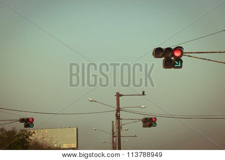 Traffic Light Red And Green Turn Right, Image Used Filter Vintage