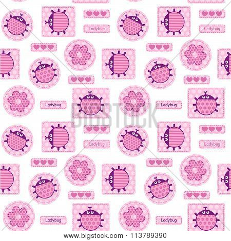 Patches pink ladybirds and hearts seamless vector pattern