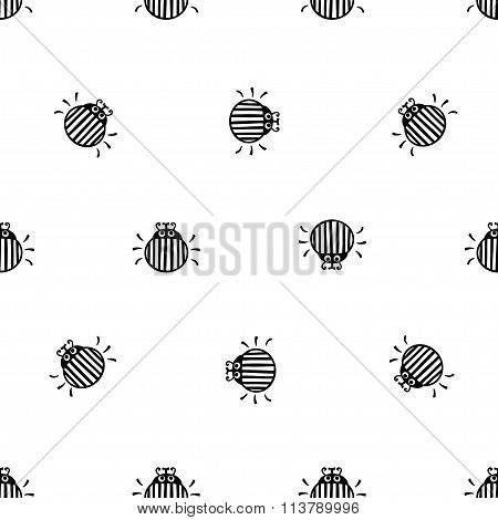 bug black and white seamless vector pattern