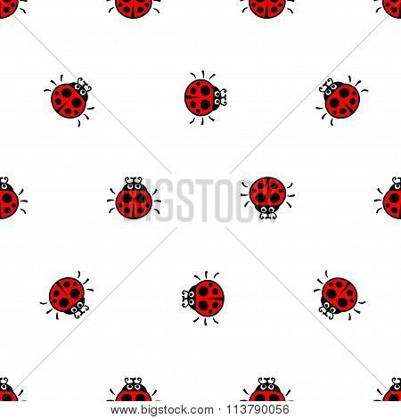 Ladybirds red seamless vector pattern
