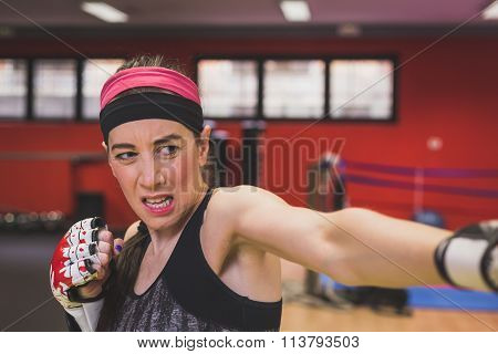 Beautiful Girl Boxing In The Gym