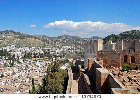 Alhambra Palace Castle and cityscape, Granada.