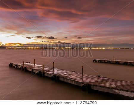 Long exposure with silk water sunset in Albufera, Valencia poster
