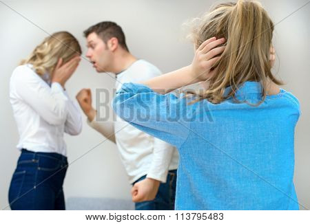Parents Quarreling At Home, Child In Shock.