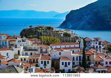View on the ruins of Venetian fortress in Skopelos, Greece poster