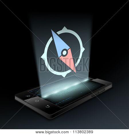 Icon Compass. Hologram.