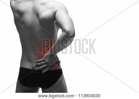 Kidney Pain. Man With Backache. Pain In The Human Body. Muscular Male Body. Isolated On White Backgr