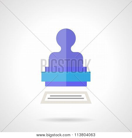 Purple stamper flat color vector icon