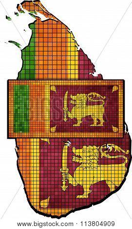 Sri Lanka Map With Flag Inside.eps