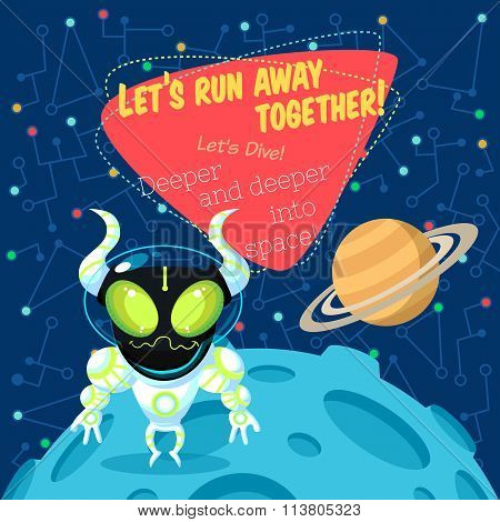 Vector illustration in flat style about outer space. Planets in the univers. Greeting card poster