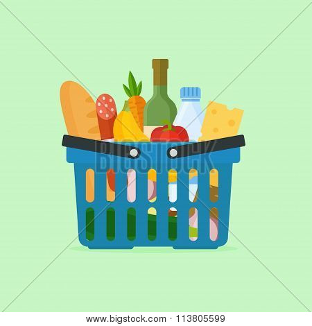 Basket With Food Vector Illustration
