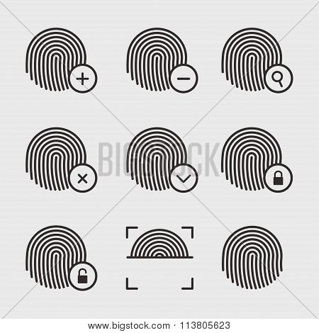 Fingerprint Icons Vector Set