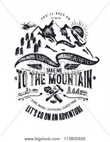 mountain illustration with type, icon