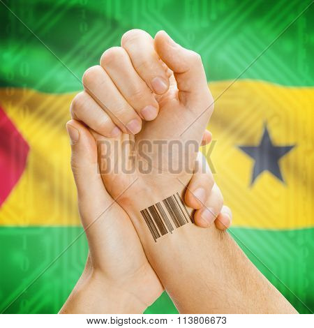 Barcode Id Number On Wrist And National Flag On Background - Sao Tome And Principe