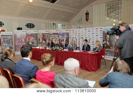 ST. PETERSBURG, RUSSIA - DECEMBER 7, 2015: Press conference devoted to opening of the festival Arts Square. This year festival is dedicated to anniversaries of Tchaikovsky, Sibelius, and Sviridov