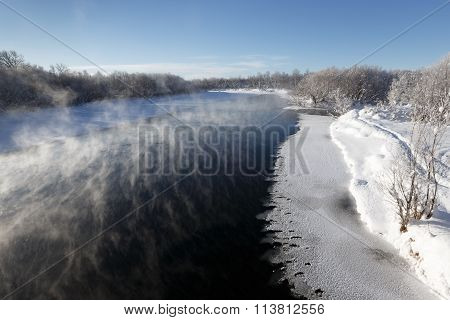 Winter Landscape: Beautiful View Of Kamchatka River. Eurasia, Russian Far East