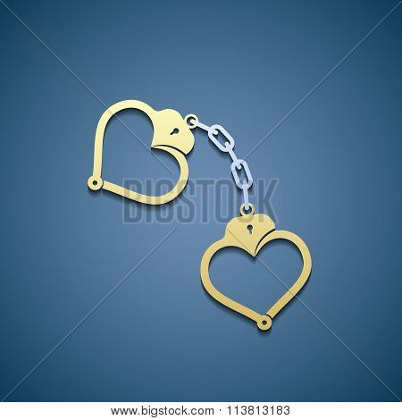 Icon Handcuffs In The Form Of Heart.