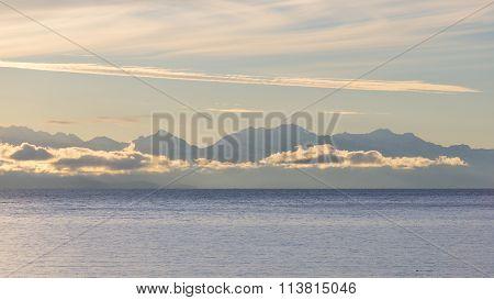 The Cordillera Real Mountain Range At Sunrise, Titicaca Lake, Bolivia