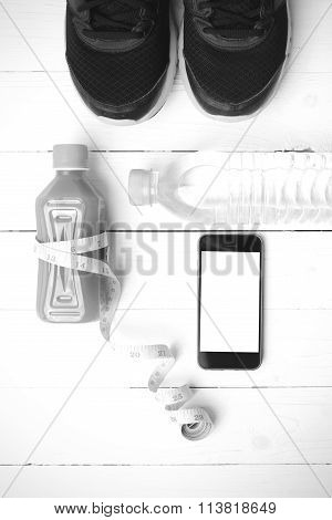 Fitness Equipment On White Wood Background Black And White Color