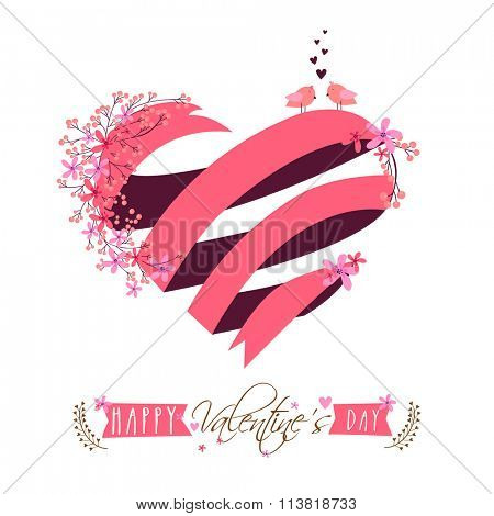 Creative heart, made by pink ribbon with beautiful flowers and love birds for Happy Valentine's Day celebration.