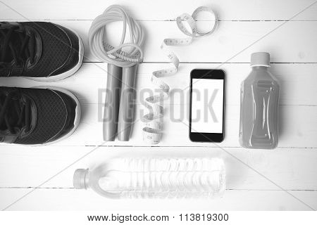 Fitness Equipment On White Wood Background Vintage Style Black And White Color