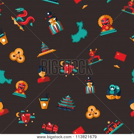 Flat design China travel icons pattern - Chinese famous symbols