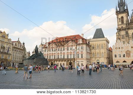 Old Town Square With A Monument To Jan Hus Prague