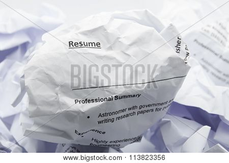Resume Crumpled Up And Thrown Away In The Trash