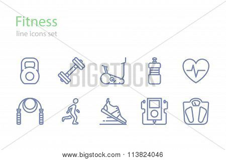 Fitness. Line icons set. Stock vector.