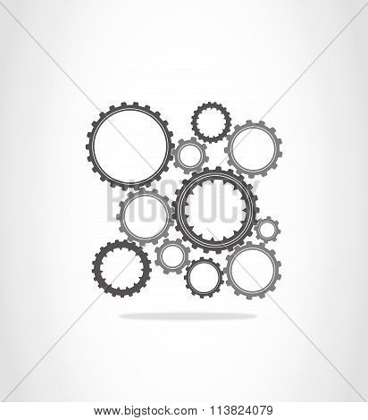 The gray and dark gray gears