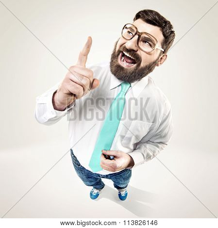 Excited nerdy guy raising his finger