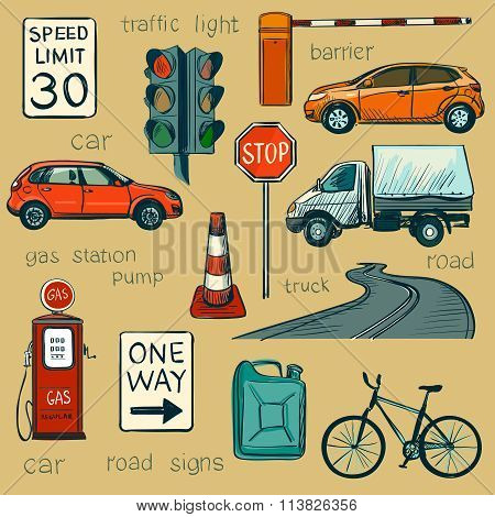Traffic Policeman With Different Useful Tools -traffic lights, signs, cars, road, police, attention, stop and other