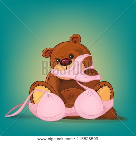 Sad Teddy Bear Gift With Pink Underwear
