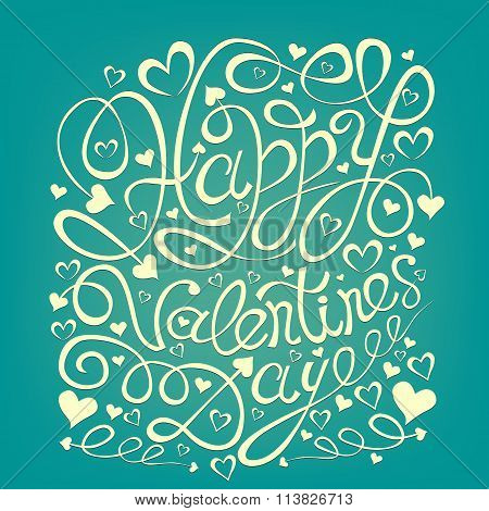 Happy Valentine;s Day Hand Drawn Lettering Greeting Card Template.