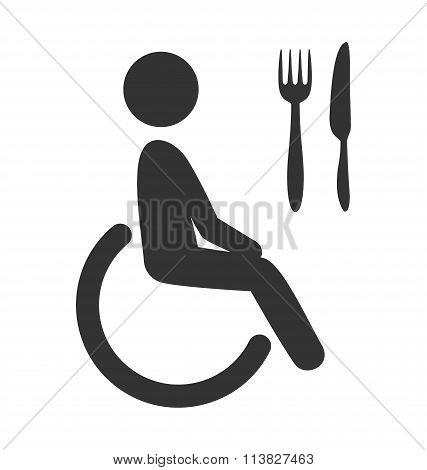 Disability man pictogram flat icon cafe isolated on white