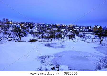 Winter dawn on the river Ros. View of winter river Ros. District Zarech'e. City of Bila Tserkva. Ukr