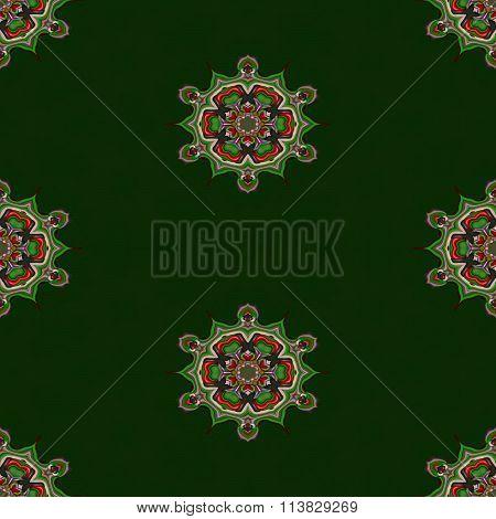 Abstract green arabian cashmere tileable seamless regular ornamental fractal pattern