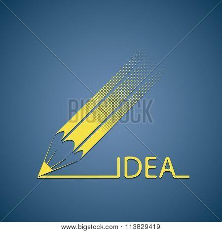 Pencil Writes The Word Idea