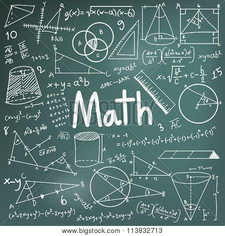 Math Theory And Mathematical Formula Equation Doodle Handwriting Icon In Blackboard Background With