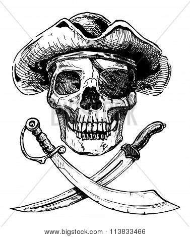 Black And White Pirate Skull With  Cross Swords.