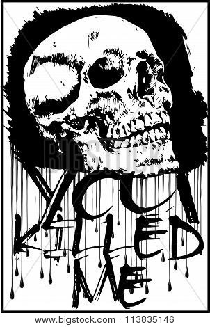 T-shirt Graphics/skull Print/skull Illustration/evil Skull/concert Posters/rock And Roll Themed Grap