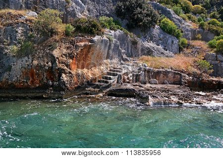 Steps Sunken Lycian City Dolihiste Kekova Island, Turkey